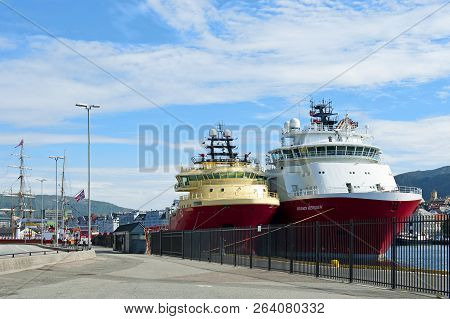 Bergen, Norway - July 15, 2018: The Eldborg And The Skandi Bergen Offshore Tug/supply Ships Moored A