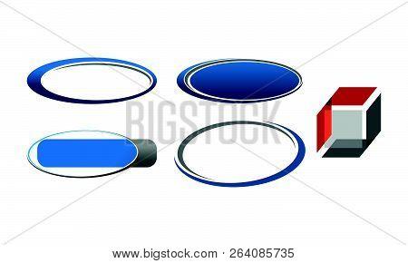 Template Emblem Blank Set Design Sign Solution