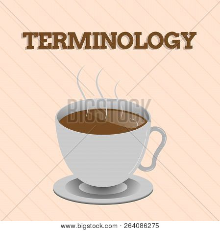 Word writing text Terminology. Business concept for Terms used with particular technical application in studies poster