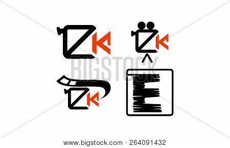 Movie Studio Letter E K Set Logo Design Vector