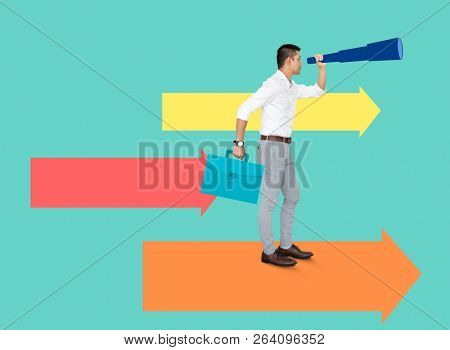 Businessman looking for opportunities using a telescope