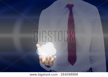 Young Businessman The Line Graph Of The Economic Growth Index On The 3d Touch Screen And Icon Cloud