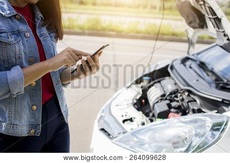 Sad Woman Call Phone As Broken Car, Up Set Girl Standing And Talking On Phone With Automobile And Me