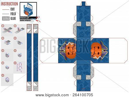 Gift Box For The Holiday Of Halloween. Assemble The Template Itself.stock Vector Illustration