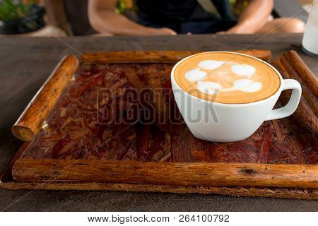 Cup Of Coffee Hot On Wooden Table.