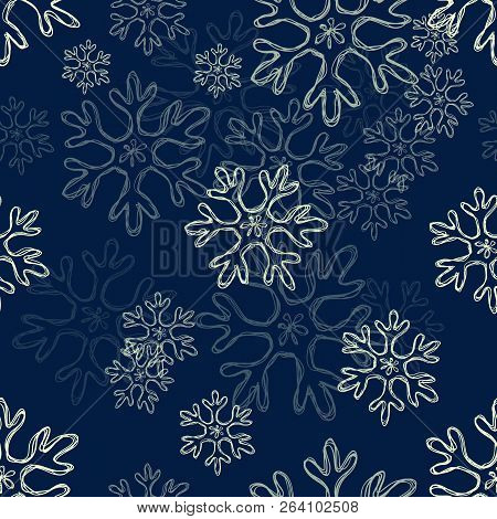Vector Seamless Pattern Background With Doodle Sketch Snowflakes. Night Winter Ornament.