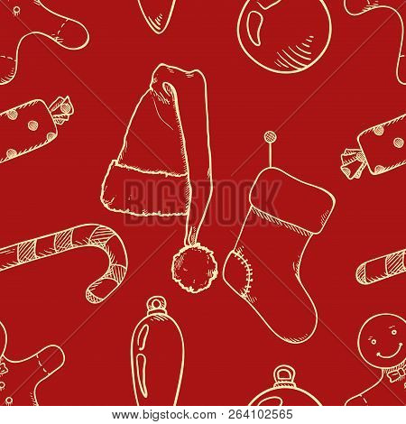 Vector Seamless Pattern Background With Sketch Christmas Objects