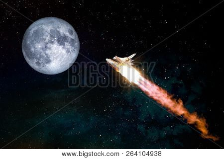 Spaceship Taking Off On A Mission To The Moon, Conceptual Travel To The Moon Collage. Rocket Flying