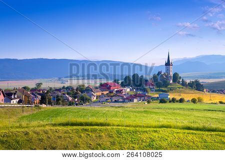 Beautiful Landscape Of Valley In Slovakia Mountains, Houses In Village, Rural Scene. Spissky Stvrtok