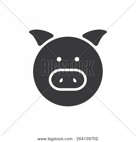 Pig Portrait Vector Icon On White Background. Pig Portrait Icon In Modern Design Style. Pig Portrait