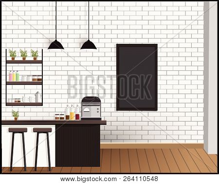 Meetings In Coffee Shops, Co Working Interior Vector Illustration