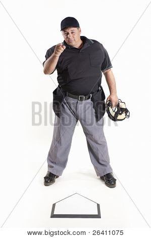 Out - Professional baseball umpire on white background