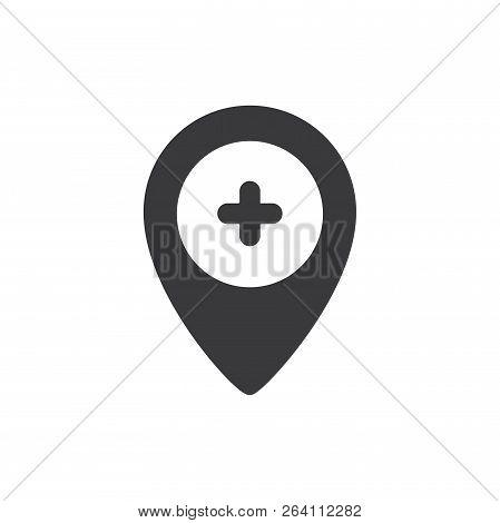 Hospital Location Vector Icon On White Background. Hospital Location Icon In Modern Design Style. Ho