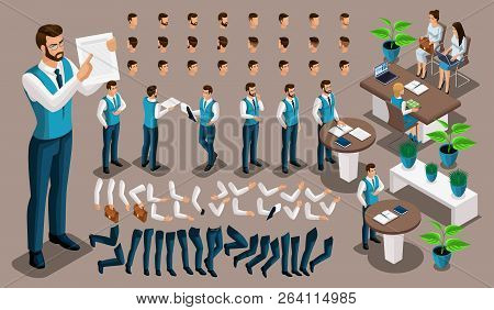 Isometric Vintage Background, Male Bank Worker, Set Of Gestures Of Hands And Feet, Hairstyles, Emoti