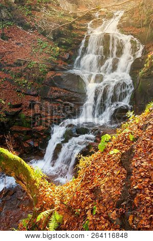 Waterfall Shypot In Autumn. View From Above