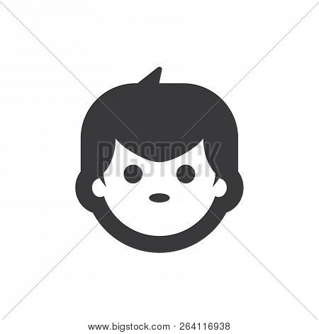 Boy Face Vector Icon On White Background. Boy Face Icon In Modern Design Style. Boy Face Vector Icon