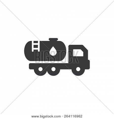 Water Truck Vector Icon On White Background. Water Truck  Icon In Modern Design Style. Water Truck V