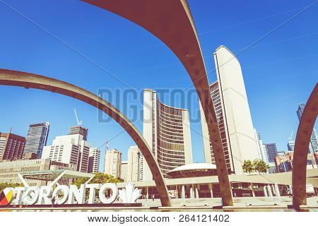 Toronto, Canada - September 17, 2018: View Of Toronto Sign On Nathan Phillips Square, In Toronto,  C