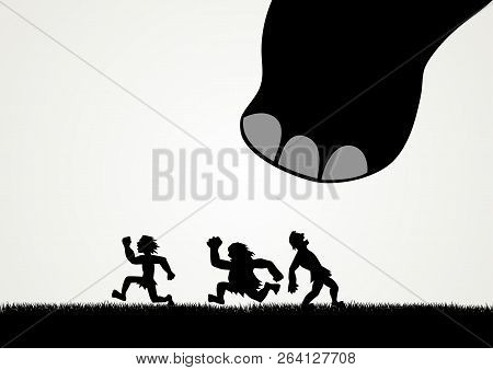 Funny Cartoon Of Men Fleeing Panic From A Giant Dinosaur Step