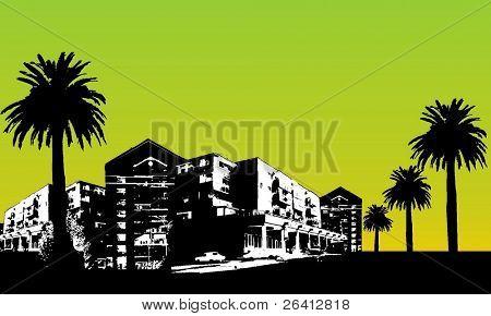 vector city scape,buildings palm trees