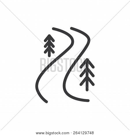 River Trail Vector Icon On White Background. River Trail Icon In Modern Design Style. River Trail Ve