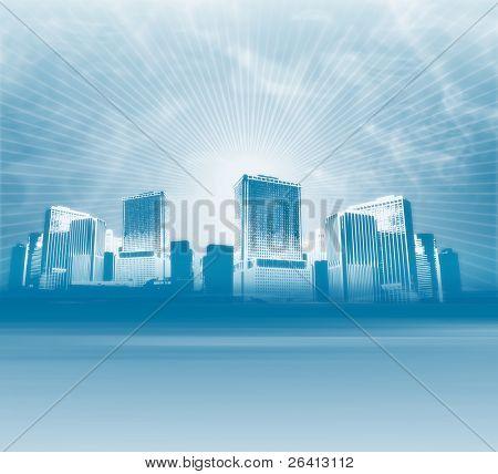 big blue city background,illustration