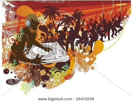 dj mixing on the  beach and a crowd of people dancing grunge & floral elements ,vector illustration