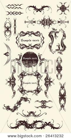 a lot of design ornaments ,floral frames,borders,vector illustration