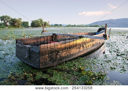 Fishing Boat On The Lake Orestiada In Kastoria. Greece