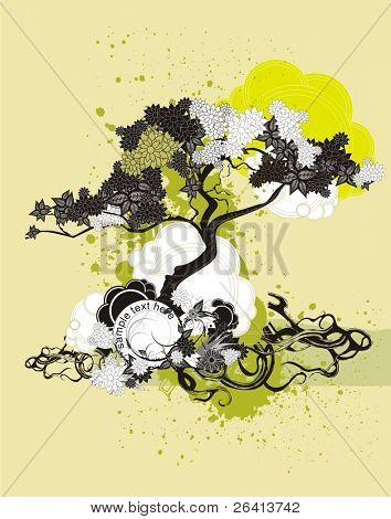 stylized tree  on grunge background with floral ornaments