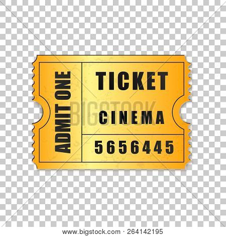 Realistic Gold Cinema Ticket Isolated Object On Transparent Background. Cinema, Theater, Concert, Mo