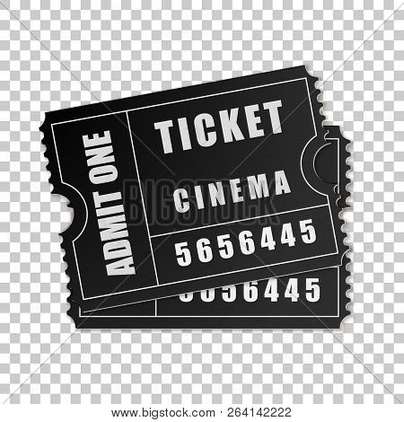 Realistic Two Black Cinema Tickets Isolated Object On Transparent Background. Cinema, Theater, Conce