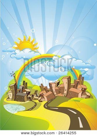 colorful city under the rainbow & sunshine,illustration