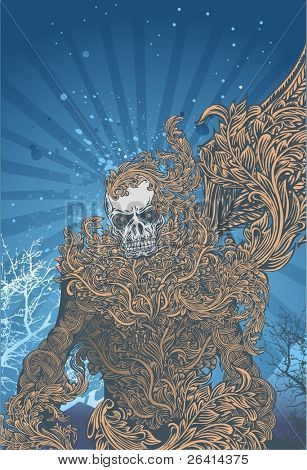 vector illustration of awakening skeleton warrior, and her body covered by highly detailed flourishes