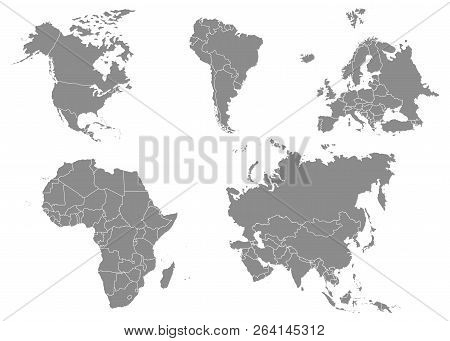 Territory Of Continents - North America, South America, Africa, Europe, Asia