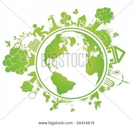 environmental vector concept with earth globe