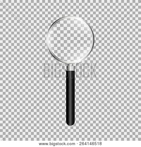Magnifying Glass, Loupe With Black Handle. Gray Background. Vector Illustration