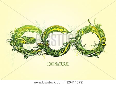 ornamental lettering for the word eco