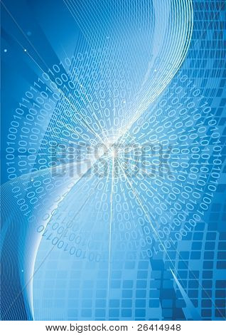 Binary codes  on high tech background, vector illustration