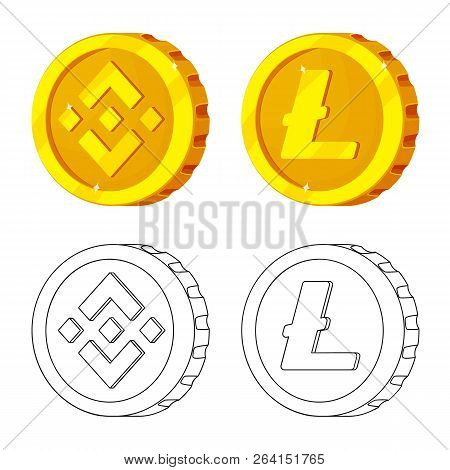 Vector Design Of Cryptocurrency And Coin Logo. Collection Of Cryptocurrency And Crypto Vector Icon F