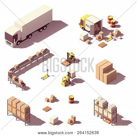 Vector Isometric Low Poly Warehouse Objects And Equipment. Trucks And Crates, Pallets, Warehouse Con