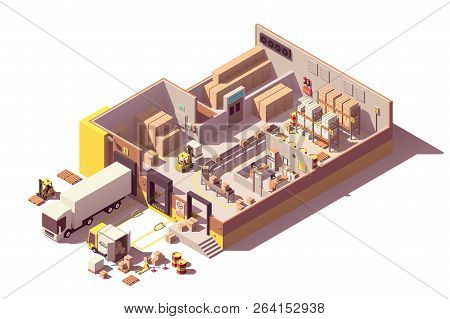 Vector Isometric Low Poly Warehouse Cross-section With Trucks, Crates And Pallets, Loading Docks, Bu