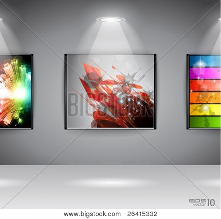 ShowRoom Art Gallery exposition or advertising of object or to use like an intro webpage for website modern project.