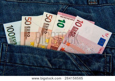 Euro Money In Your Pocket. Euro Banknotes. European Money. Money In Your Jeans Pocket