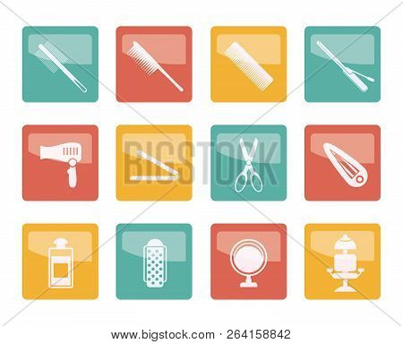 Hairdressing, Coiffure And Make-up Icons Over Colored Background- Vector Icon Set