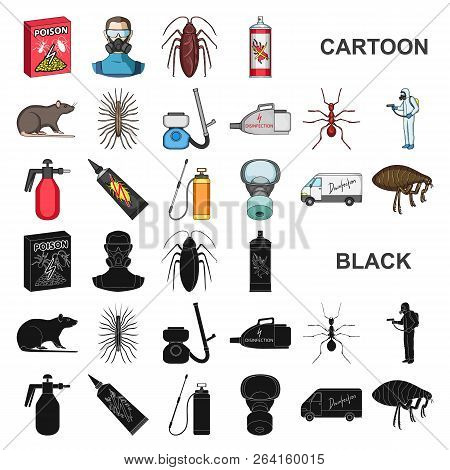 Pest, Poison, Personnel And Equipment Cartoon Icons In Set Collection For Design. Pest Control Servi