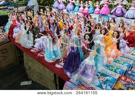 Kalasin,thailand - March 3, 2018: Dolls Are Shown For Sale On Street Food At Temple Fair In Kalasin,