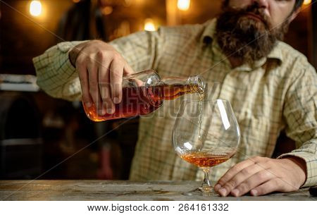 Alcohol Addiction. Bearded Man Drinking Alcohol. Whisky, Brandy Or Cognac Concept. Serious Sad Man H