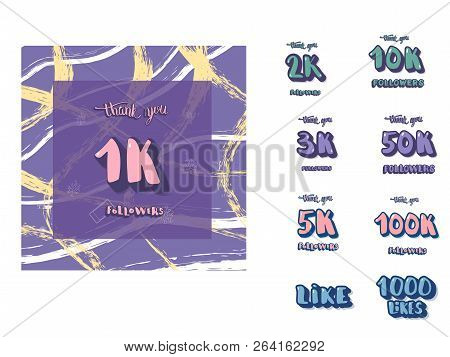 Set Of  Social Media Template And Elements. Banner And Decoration For Internet Networks.  1k, 2k, 3k