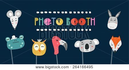 Kids Photo Booth Props Set Vector Illustration. Collection Of Animals Masks For Birthday Party Or Ev